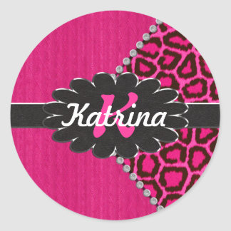Black Leather Monogram on Pink Cheetah Classic Round Sticker