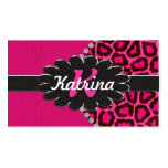 Black Leather Monogram on Pink Cheetah Double-Sided Standard Business Cards (Pack Of 100)