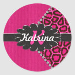 Black Leather Monogram on Pink Cheetah Stickers