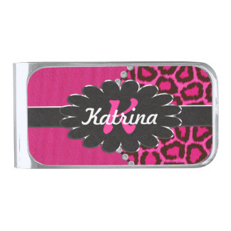 Black Leather Monogram on Pink Cheetah Silver Finish Money Clip