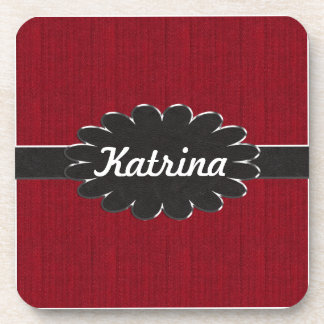 Black Leather Monogram on Red Material Background Drink Coaster