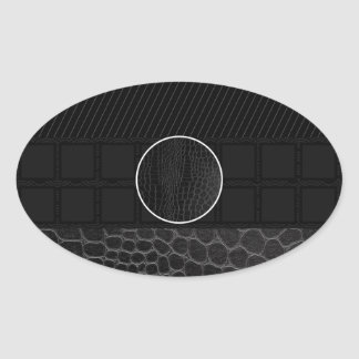 Black Leather Monogram Oval Sticker