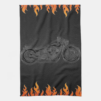 Black Leather Orange Flames Hot Fire Motorcycle Kitchen Towel
