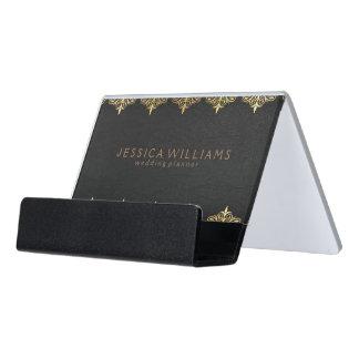 Black Leather & Ornate Floral Gold Frame Desk Business Card Holder