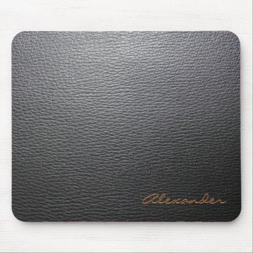 Black Leather Pattern- Custom Monogram Mousepads