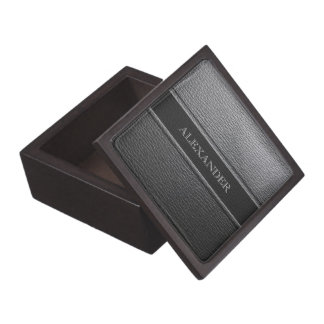 Black Leather Pattern-Custom Name Gift Box