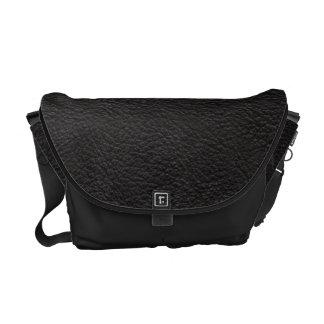 Black Leather Print Texture Pattern Courier Bag
