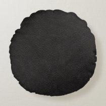 Black Leather Print Texture Pattern Round Pillow