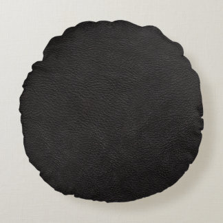 Black Leather Print Texture Pattern Round Pillow