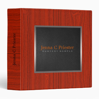 Black Leather Red Wood Touch Of Metallic look. Binder