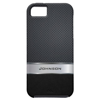 Black Leather & Silver Mesh with Metal Label | iPhone SE/5/5s Case
