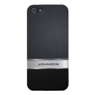 Black Leather & Silver Mesh with Metal Label | iPhone SE/5/5s Cover