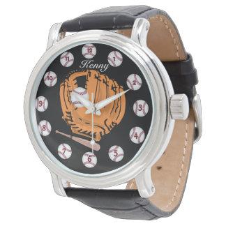 Black Leather Strap BaseBall watch
