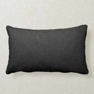 Black Leather Texture Background Lumbar Pillow