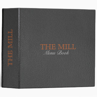Black Leather Texture Brown Accents 3 Ring Binder