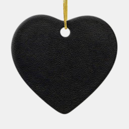 Black Leather Texture Ceramic Ornament