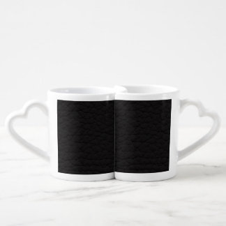 Black Leather Texture Couple Mugs