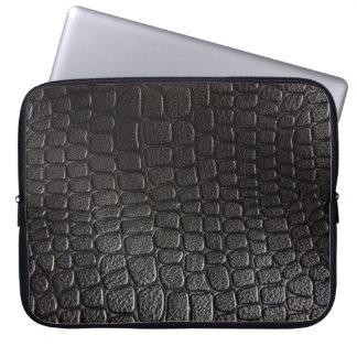 Black Leather Texture Laptop Sleeves