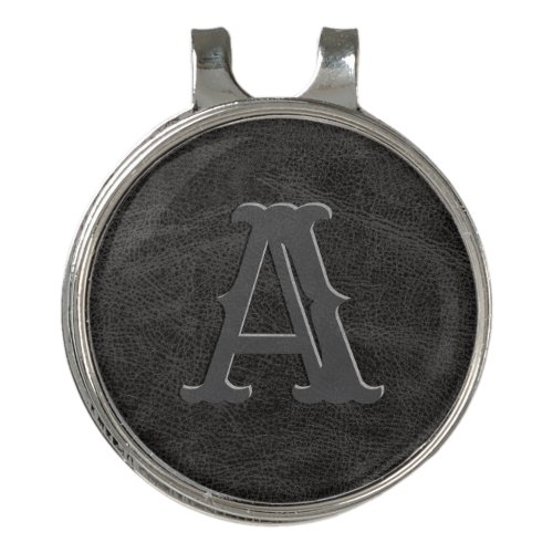 Black Leather Texture Monogrammed Initial Golf Hat Clip