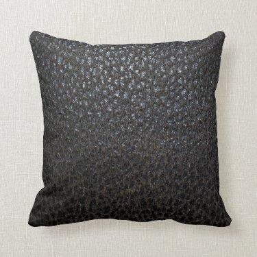 Black Leather Texture Throw Pillows
