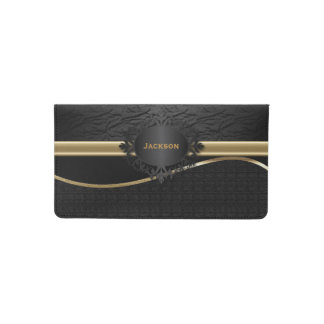 Black Leather Texture with Gold Accents Checkbook Cover