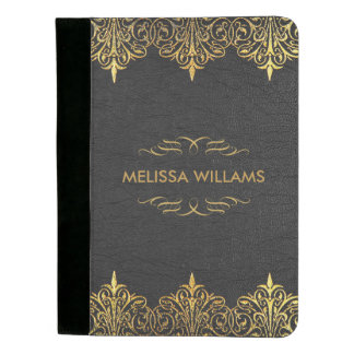 Black Leather Texture With Vintage Gold Border Padfolio