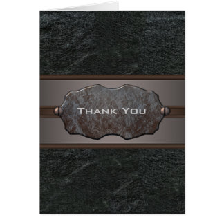 Black Leather Thank You Card