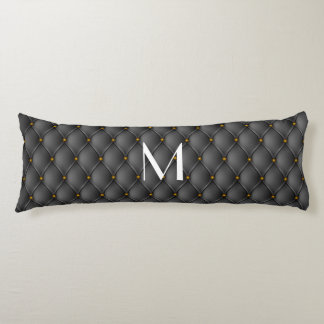 Black Leather Upholstery Brass Nails Look Body Pillow