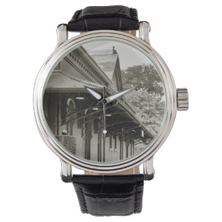 Black Leather Watch, Train Station Architecture Wristwatches