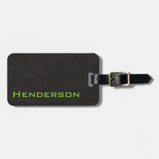 Black Leather with Green Text Tag For Luggage
