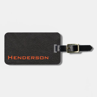 Black Leather with Orange Text Luggage Tag