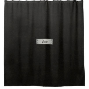 Black Leather With Plaque Bathroom Shower Curtain