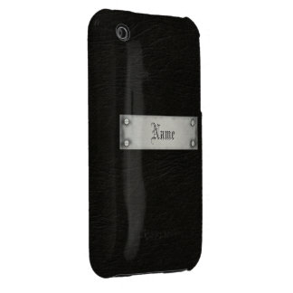 Black Leather With Plaque Case-Mate iPhone 3 Case