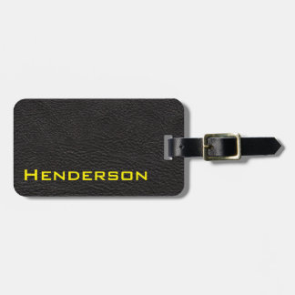 Black Leather with Yellow Text Tag For Luggage
