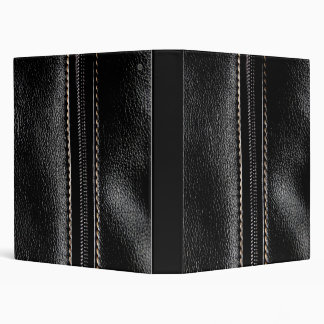 Black Leather with Zipper 3 Ring Binder