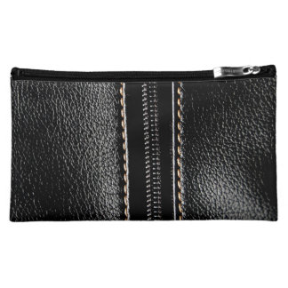 Black Leather with Zipper Cosmetic Bag