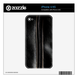 Black Leather with Zipper iPhone 4 Decals