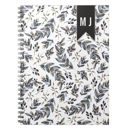 Black Leaves Berries Pattern Monogram | Notebook