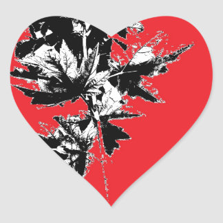 Black Leaves on Red Background Heart Sticker