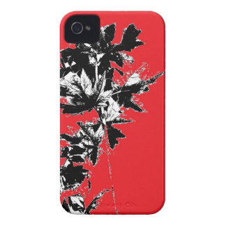 Black Leaves on Red Background iPhone 4 Cover