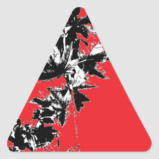 Black Leaves on Red Background Triangle Sticker