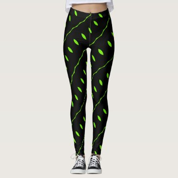 Beach Themed Black Leggings with Lime Green Leaves and Vines
