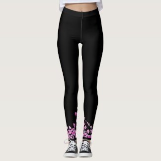 Black leggings with pink hearts