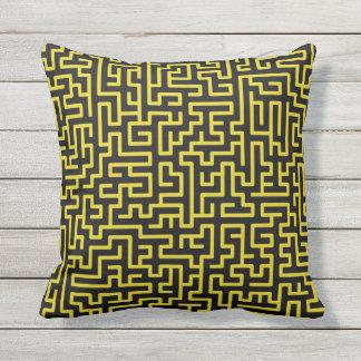 black lemon Maze Throw Pillow