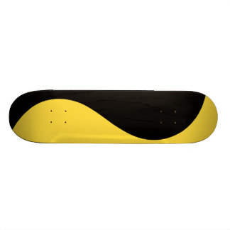 Black & Lemon Zest Yellow Modern Curves Customized Skateboard Deck
