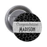 Black Leopard Animal Print Pinback Button