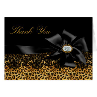 Black Leopard & Bow Thank You Card