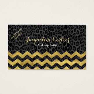 Black Leopard Chevron Cosmetologist Business Card