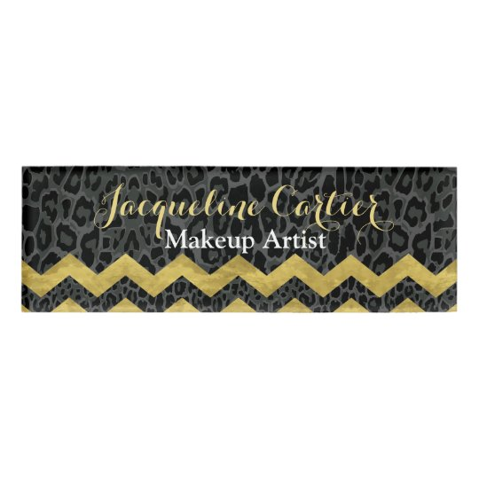 black leopard chevron skinny name tag - Name Tag Design Ideas