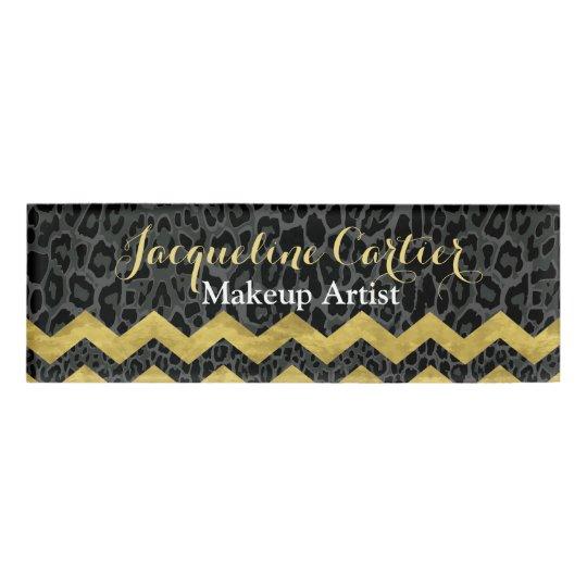 Black Leopard Chevron Skinny Name Tag